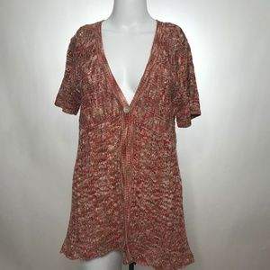 Chico's Short Sleeve One Button Knit Cardigan Sz 1